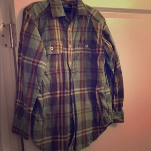 Boys Polo Plaid Green Shirt - SiZe Small